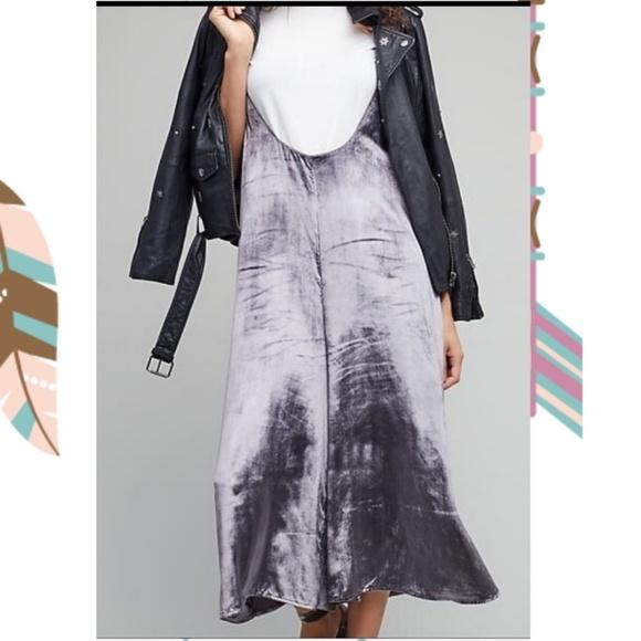 Anthropologie Pants - Anthropologie Maeve Silver Velvet Jumpsuit